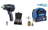 Vorschau: Druckluft-Schlagschrauber mit Kraftsteckschlüsselset + BluBird Schlauch
