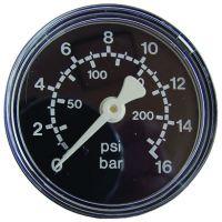 Manometer, Ø50, waagrecht, 0 - 16 bar, G1/4