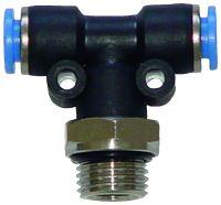 Vorschau: Schnellsteckverbinder - T-Steckverbinder mit Außengewinde seitlich oder unten